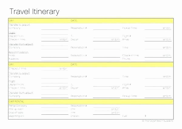 Travel Itinerary Template Google Docs Awesome Vacation Itinerary Template L for Travel Templates Planner