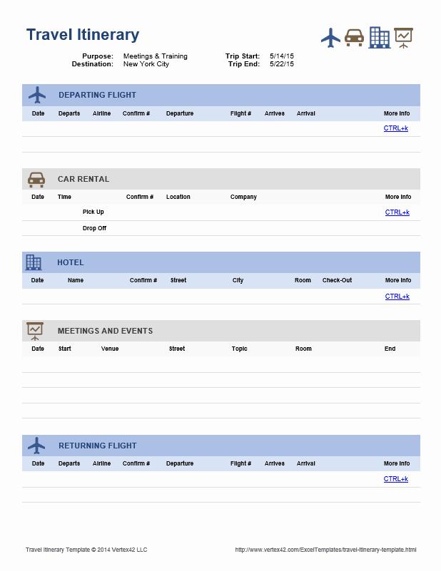 Travel Itinerary Template Google Docs Elegant Download the Travel Itinerary Template From Vertex42