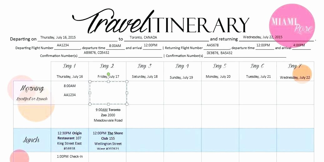 Travel Itinerary Template Google Docs Elegant Travel Itinerary Template 6 Templates Word Excel Google