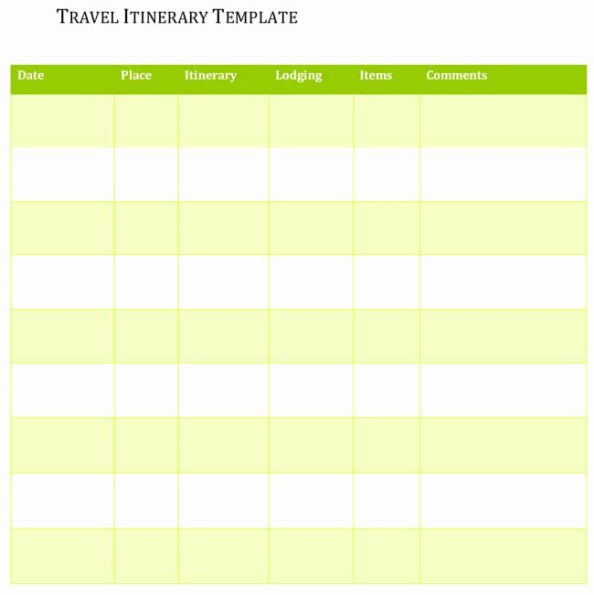 Travel Itinerary Template Google Docs Lovely 5 Travel Itinerary Templates for Excel and Word