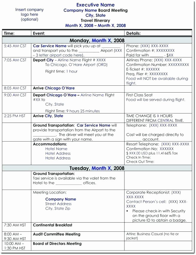 Travel Itinerary Template Google Docs Lovely Travel Agenda Template Business Itinerary Excel Board
