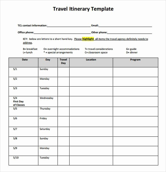 Travel Itinerary Template Word 2010 Best Of Travel Itinerary Templates