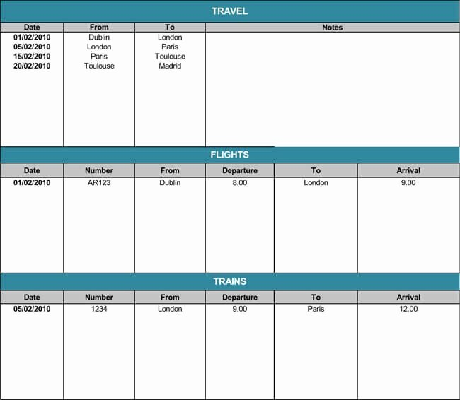 Travel Itinerary Template Word 2010 Elegant 5 Travel Itinerary Templates for Excel and Word