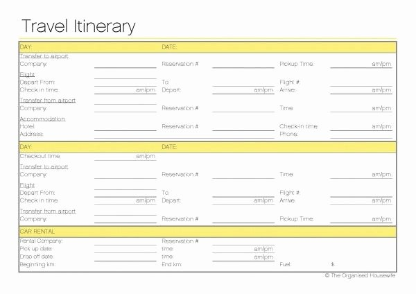 Travel Itinerary Template Word 2010 Elegant Free Printable Travel Itinerary