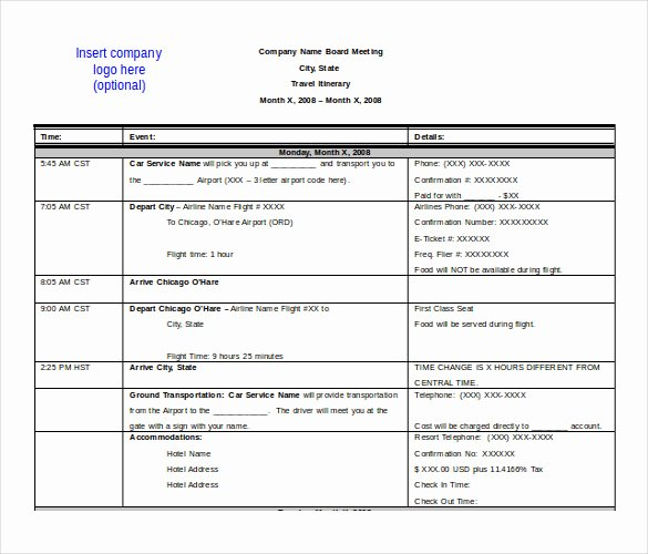 Travel Itinerary Template Word 2010 Fresh 13 Itinerary Templates Free Microsoft Word Documents