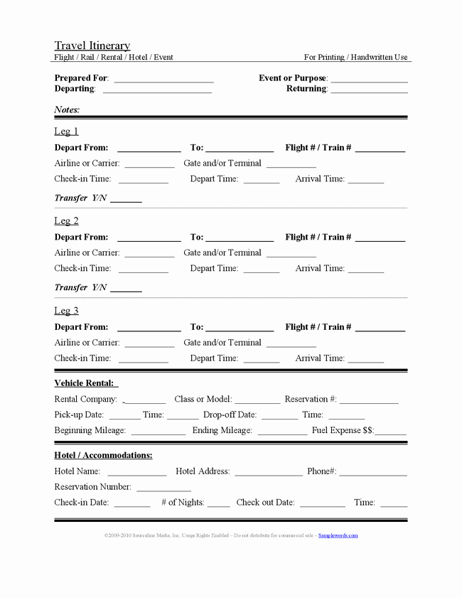 Travel Itinerary Template Word 2010 Unique Travel Itinerary Template Beepmunk