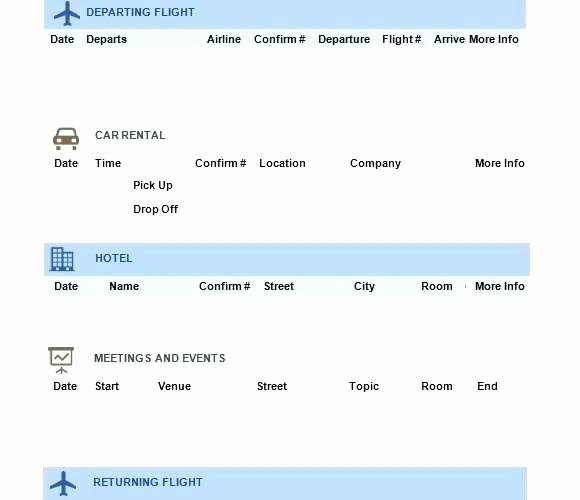 Travel Itinerary Template Word 2010 Unique Vacation Travel Itinerary Template Word Trip Family