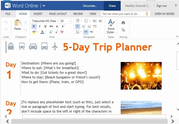 Travel Itinerary Template Word Beautiful Trip Planner Template for Word Line