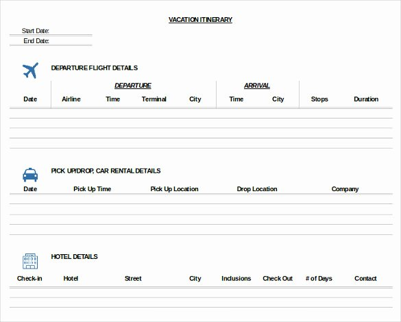 Travel Itinerary Template Word Fresh 33 Trip Itinerary Templates Pdf Doc Excel