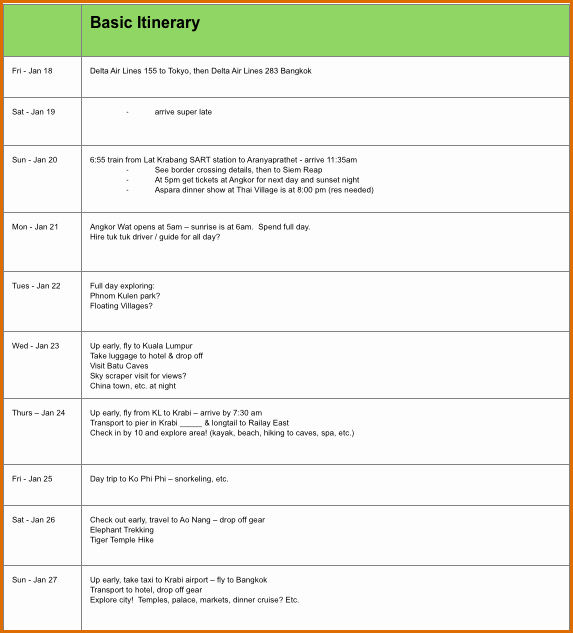 Travel Itinerary Template Word Luxury 8 Itinerary Template