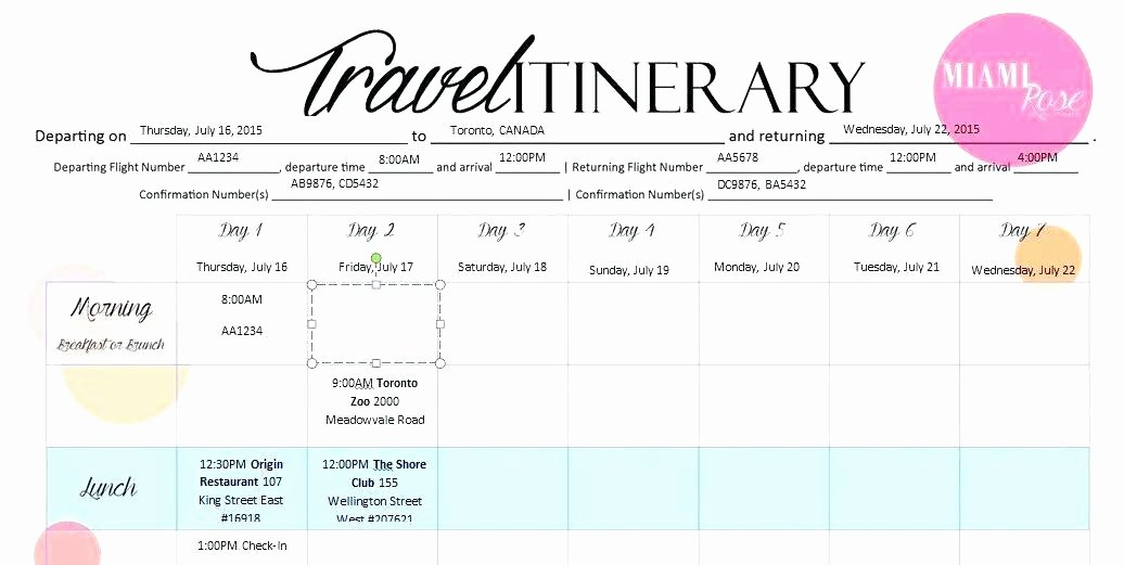Travel Itinerary Template Word Luxury Overseas Travel Itinerary Template Trip International