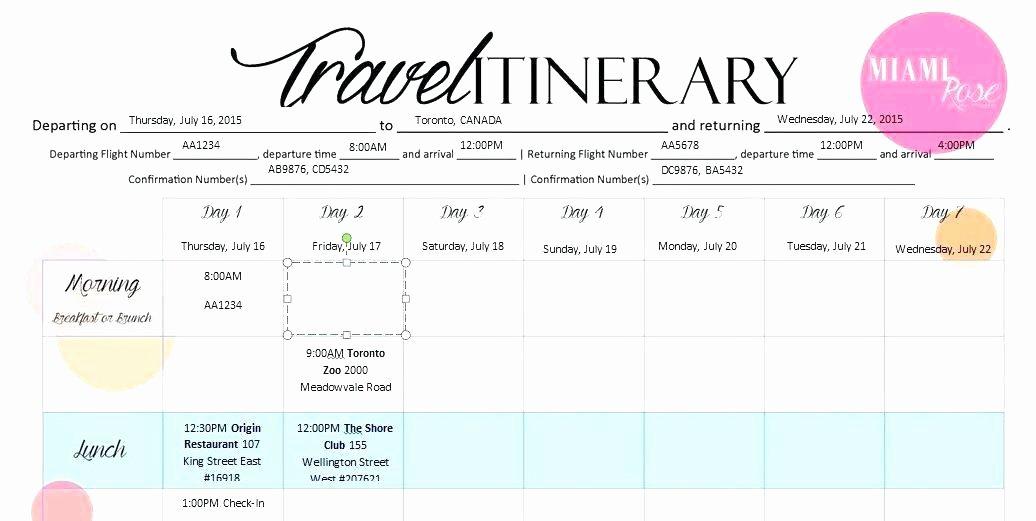 Travel Itinerary Template Word Luxury Overseas Travel Itinerary Template Trip International