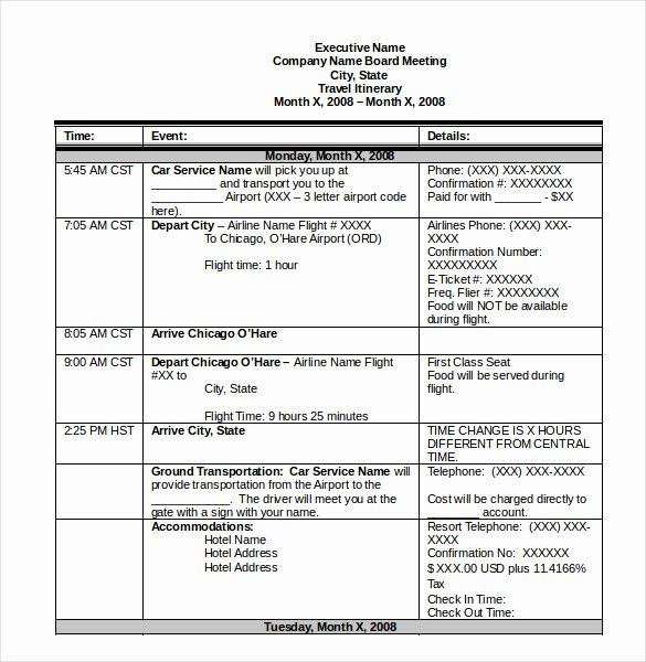 Travel Itinerary Template Word New Itinerary Template – 15 Free Word Excel Pdf Documents