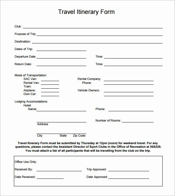 Travel Itinerary Template Word Unique 7 Vacation Itinerary Samples