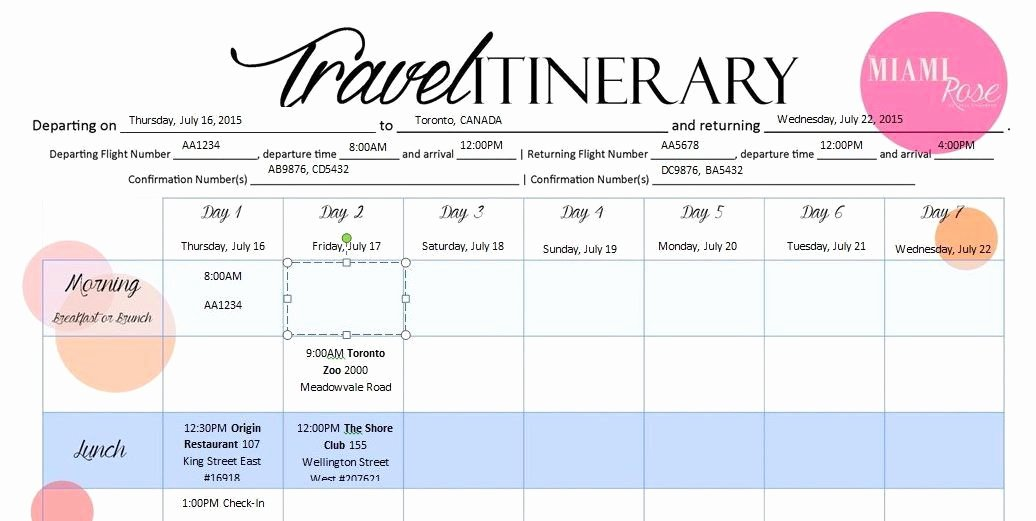 Travel Itinerary Template Word Unique Travel Itinerary Template 6 Travel Itinerary Templates
