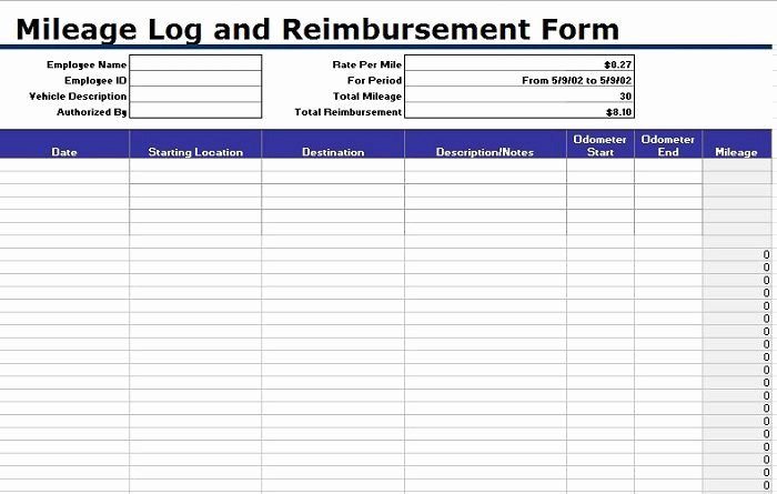 Travel Reimbursement form Template Beautiful 30 Printable Mileage Log Templates Free Template Lab