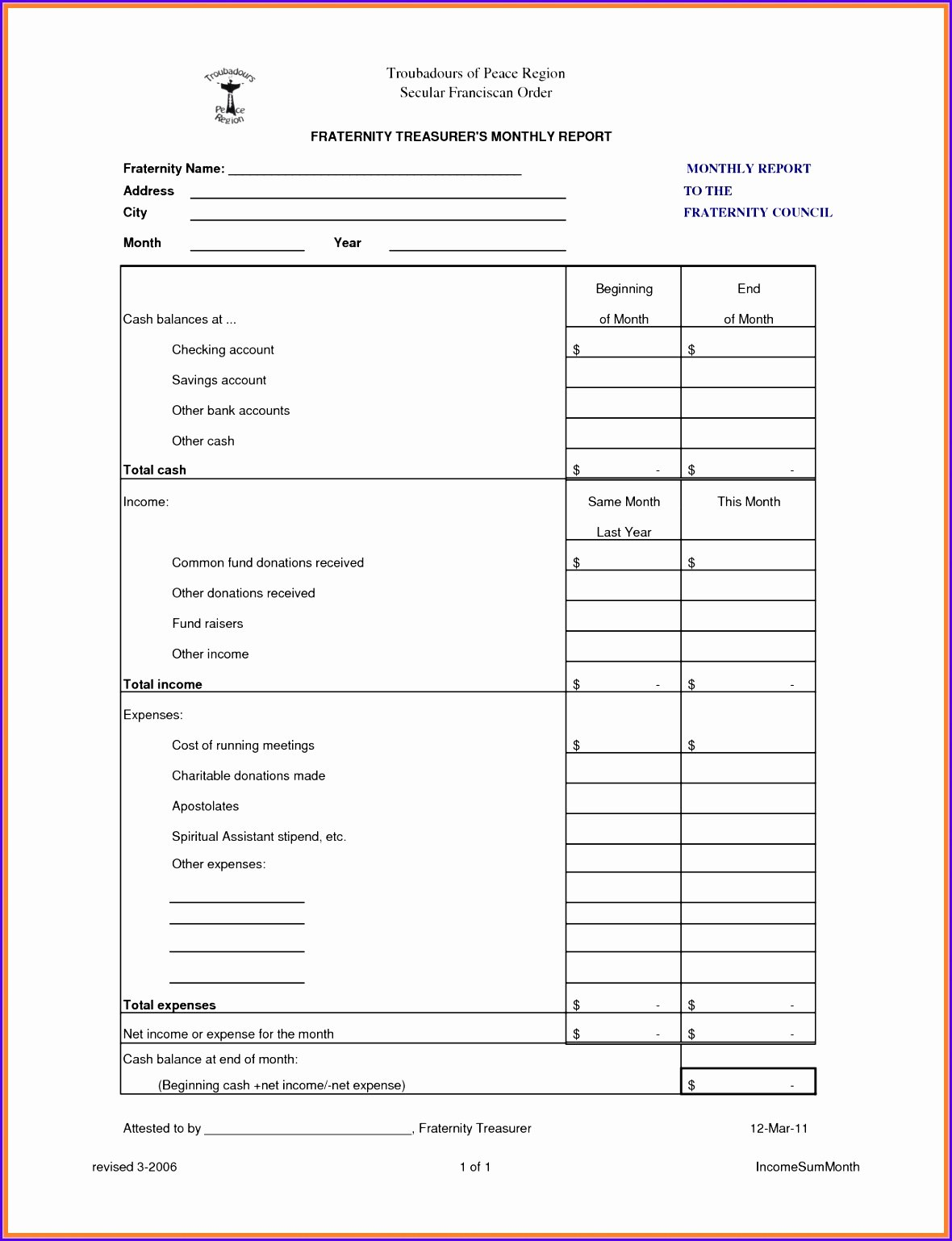 Treasurer Report Template Excel Inspirational 8 Treasurer Report Template Excel Exceltemplates