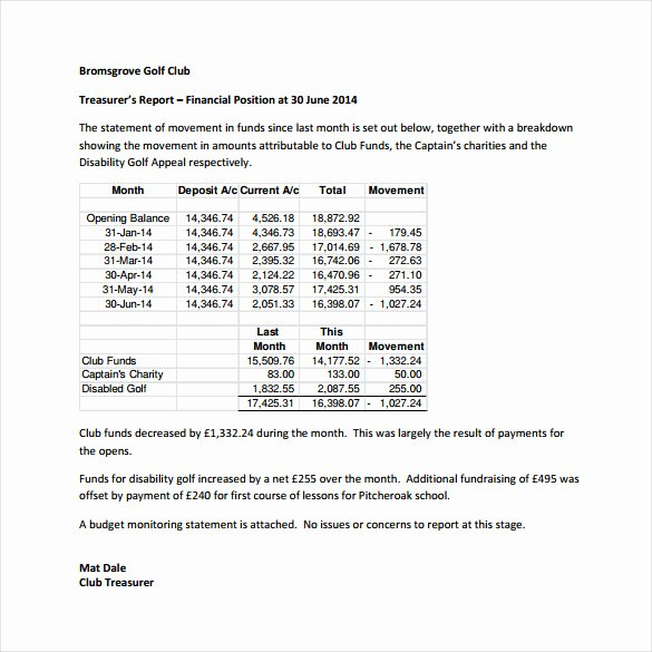 Treasurer Report Template Excel Lovely Treasurer Report Template 17 Free Sample Example