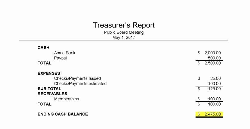 Treasurer Report Template Non Profit Best Of Treasurers Report Template Pta Monthly Non Profit Excel