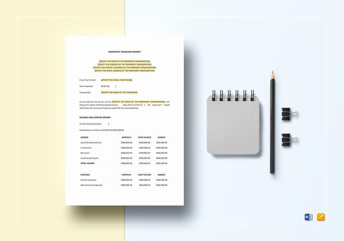 Treasurer Report Template Non Profit Elegant Non Profit Treasurer Report Template In Word Apple Pages