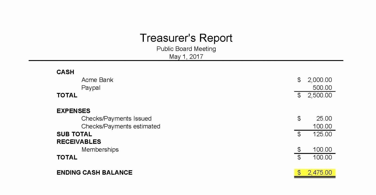 Treasurer Report Template Non Profit New Treasurers Report Templateasurer Essential Print S Maggi