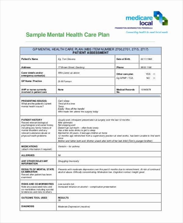 Treatment Plan Template Mental Health Inspirational 10 Healthcare Plan Templates Pdf Word