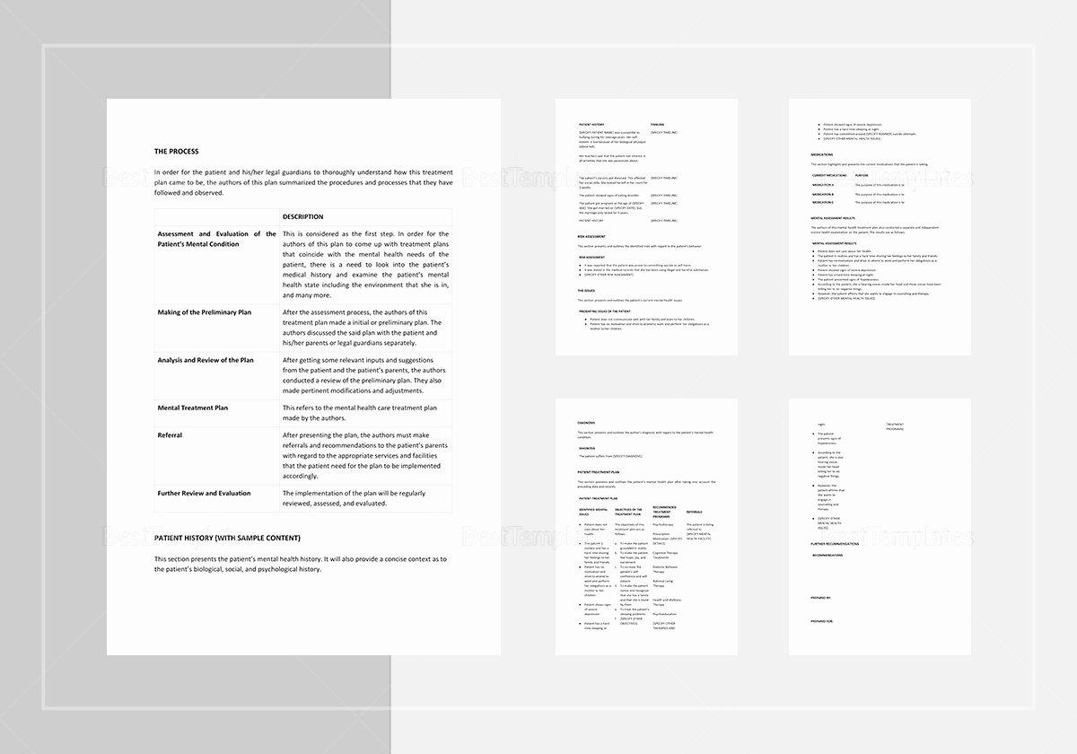 Treatment Plan Template Mental Health New Mental Health Treatment Plan Template In Word Apple Pages