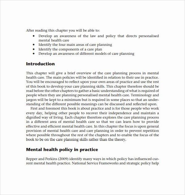 Treatment Plan Template Mental Health Unique 12 Care Plan Templates