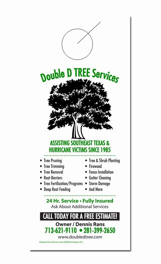 Tree Trimming Estimate Template New Tree Service Door Hanger Samples