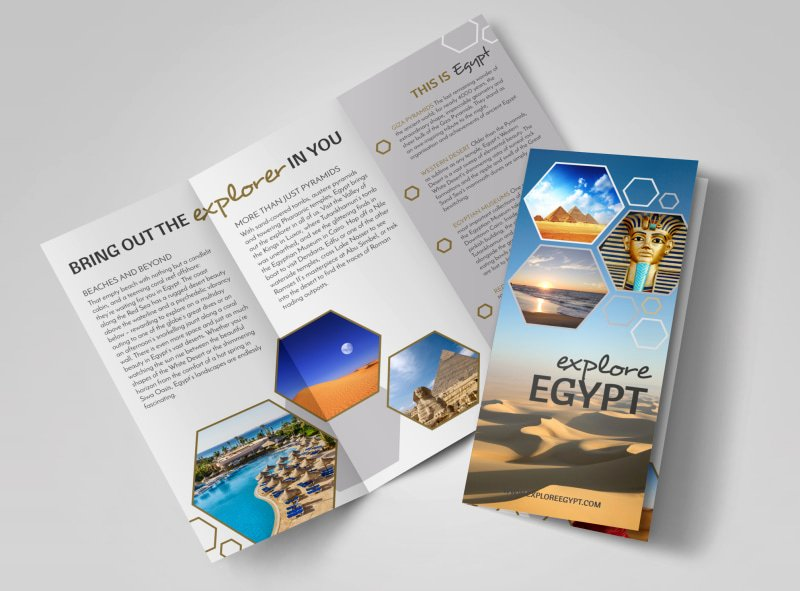 Tri Fold Travel Brochure Template Awesome Travel Egypt Tri Fold Brochure Template