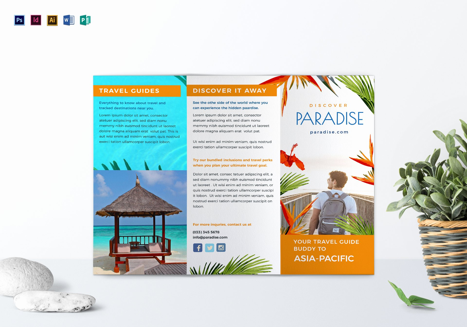 Tri Fold Travel Brochure Template Awesome Travel Tri Fold Brochure Design Template In Psd Word