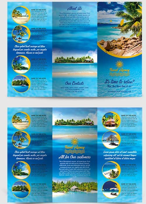Tri Fold Travel Brochure Template Lovely Travel Agency Tri Fold Brochure Psd Template Free