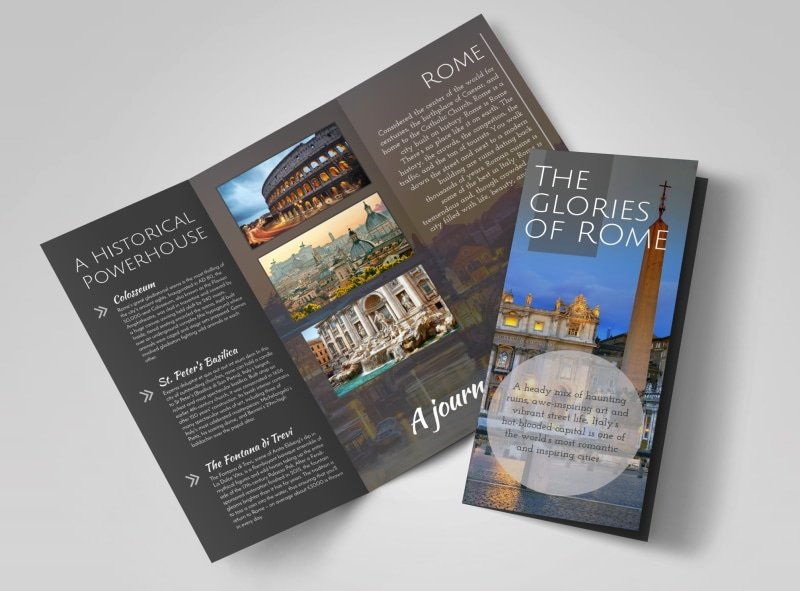 Tri Fold Travel Brochure Template Luxury Travel Rome Tri Fold Brochure Template