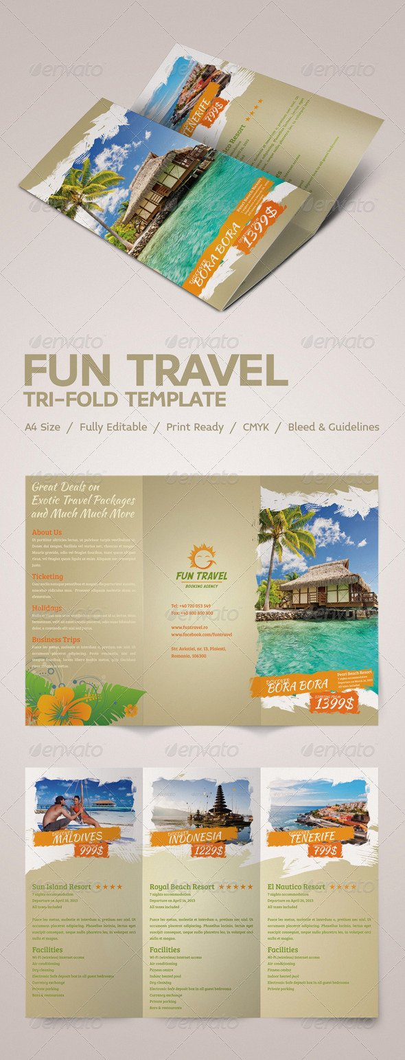 Tri Fold Travel Brochure Template New Fun Travel Tri Fold Brochure