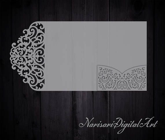 Tri Fold Wedding Invite Template Awesome Tri Fold 5x7 Wedding Invitation Pocket Envelope Svg