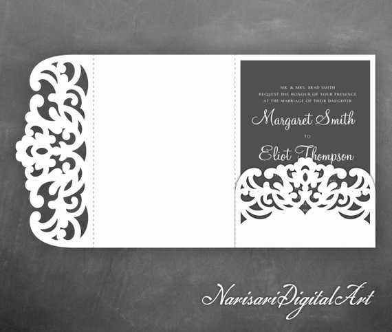 Tri Fold Wedding Invite Template Beautiful Tri Fold Pocket Envelope 5x7 Wedding Invitation Svg Template
