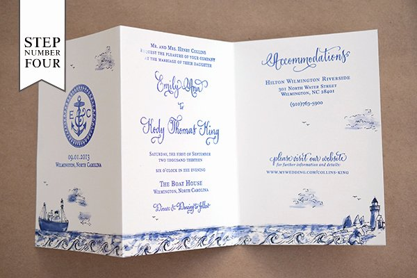Tri Fold Wedding Invite Template Elegant Diy Tutorial Stamped Nautical Tri Fold Wedding Invitation