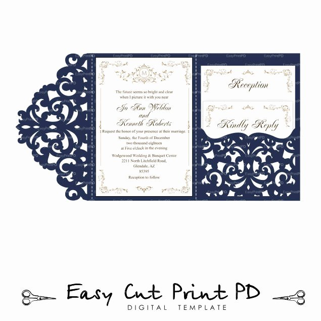 Tri Fold Wedding Invite Template Fresh Wedding Invitation Set Of Tri Fold Lace Pocket Envelope 5x7