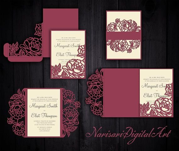 Tri Fold Wedding Invite Template Luxury Peonies Set Cricut Wedding Invitation Template Gate Fold