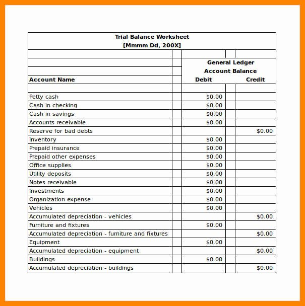 Trial Balance Excel Template Awesome 13 format Of Balance Sheet In Excel