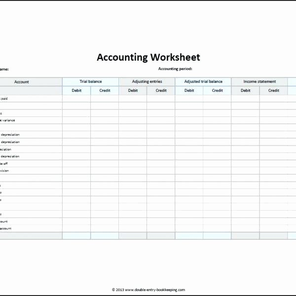 Trial Balance Excel Template Best Of Accounting Worksheet Template Double Entry Bookkeeping for