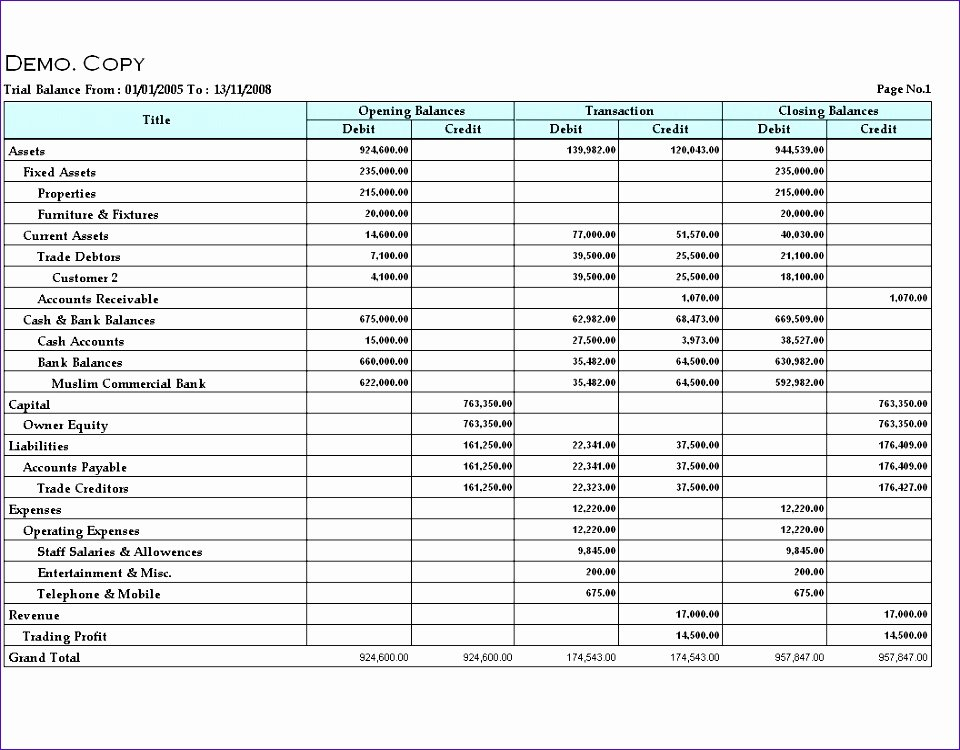 Trial Balance Excel Template Lovely 5 Trial Balance Excel Template Exceltemplates