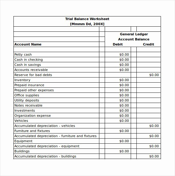 Trial Balance Template Excel Luxury Balance Sheet Templates 18 Free Word Excel Pdf