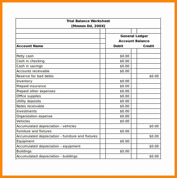 Trial Balance Template Excel New 10 Free Balance Sheet Template