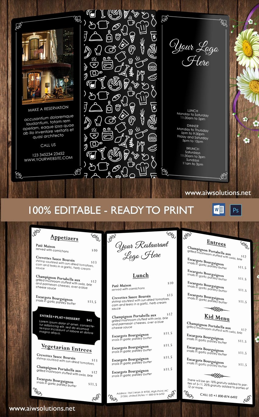 Trifold Menu Template Free Awesome Restaurant Menu Template Brochure Templates Creative