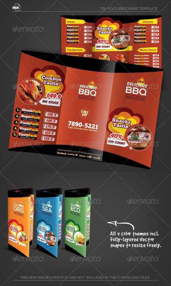 Trifold Menu Template Free Awesome Yummy Tasting Restaurant Menu Tri Fold Brochure