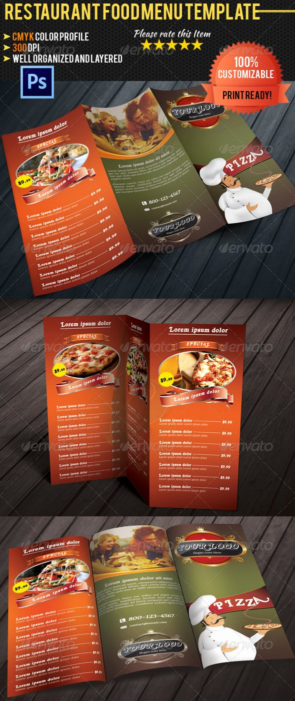 Trifold Menu Template Free Beautiful Tri Fold Restaurant Food Menu Template by Pmvch