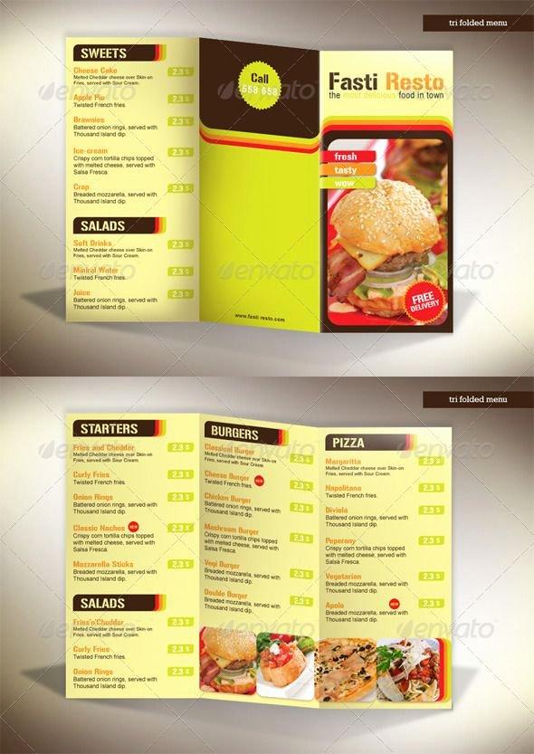 Trifold Menu Template Free Best Of 60 Premium Restaurant Menu Templates Dzineflip