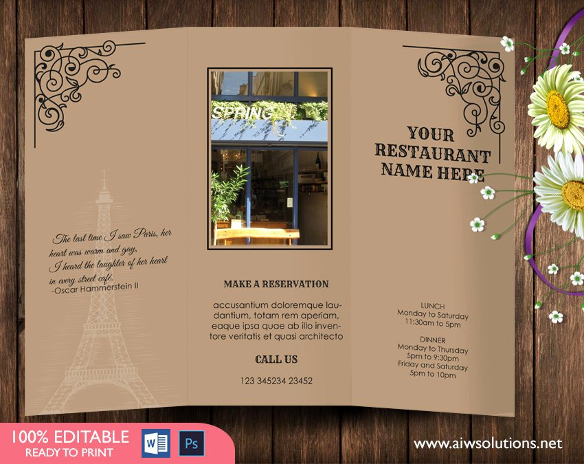 Trifold Menu Template Free Best Of Design & Templates Tri Fold Take Out Menu Menu Templates