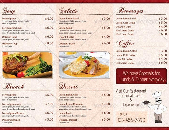 Trifold Menu Template Free Best Of Restaurant Menu Card Templates Invitation Template